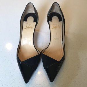 "Christian Louboutin 70mm (2.75"") heels."